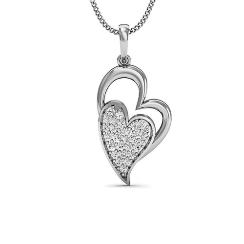 Amorous 18kt White Gold Diamond Pave Pendant-Necklaces-Diamoire Jewels-JewelStreet