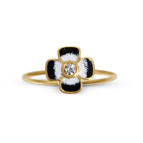 Anthea Diamond and Enamel Flower Ring-Rings-Liz Phillips-JewelStreet