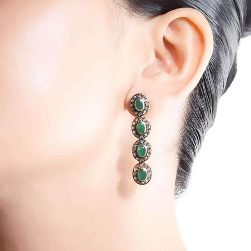 Antiquity Earrings with Diamonds and Emeralds-M's Gems by Mamta Valrani-JewelStreet US