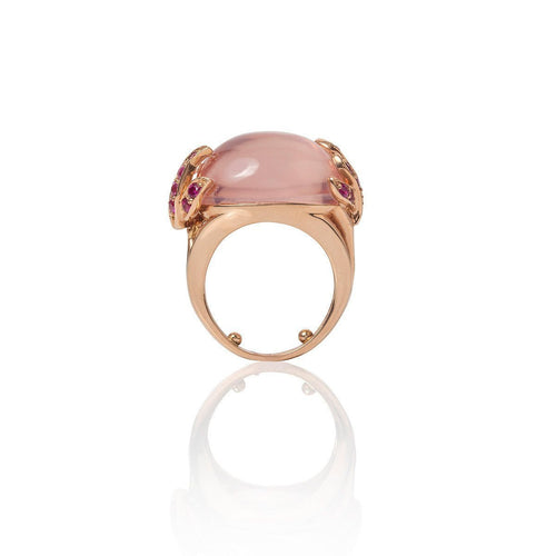Aqua Ring Rose Quartz & Pink Sapphires 18kt Rose Gold-Rings-Mara Hotung-JewelStreet