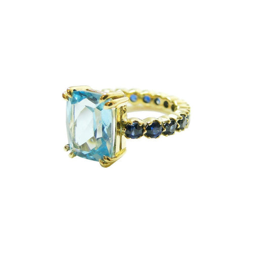 Aquamarine And Sapphire Ring-Rings-Beryl Dingemans Jewellery-JewelStreet