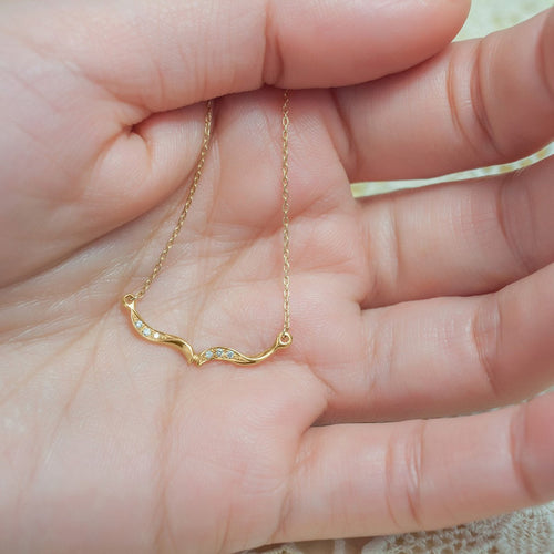 Arabesque Trail Wishbone Necklace-Necklaces-ileava jewelry-JewelStreet