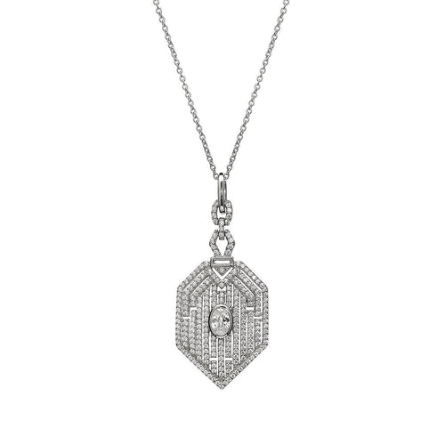 Art Deco Style Pendant-Necklaces-Lustre of London-JewelStreet