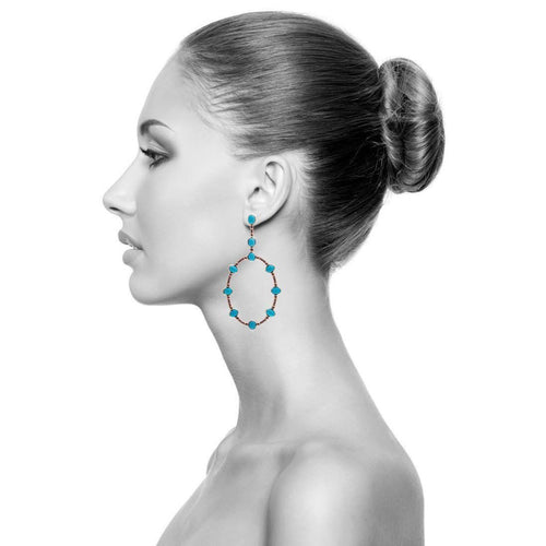 Aurora Earrings With Turquoise and Blue Sapphire-Earrings-Carla Amorim-JewelStreet