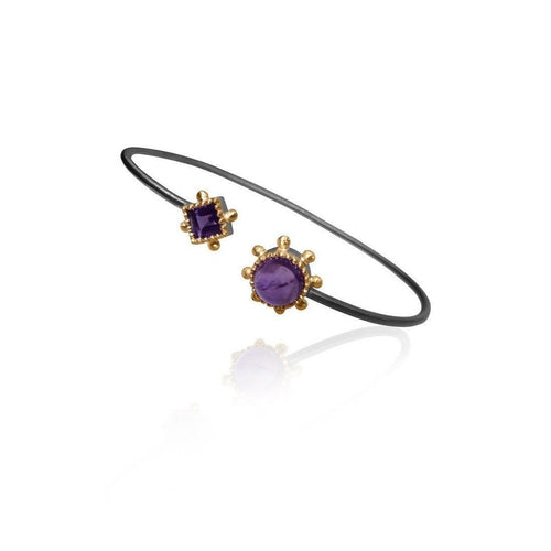 Aurora Square/Round Amethyst Bangle-Bracelets-Deci London-JewelStreet