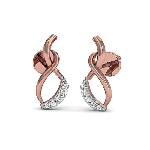Avant-Garde Diamond Stud Earrings in 18kt Rose Gold-Earrings-Diamoire Jewels-JewelStreet