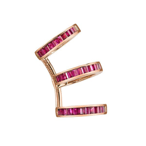 Baguette Triple Ear Cuff with Rubies
