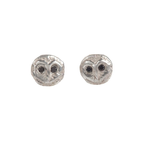 Barn Owl Studs With Black Diamonds-Earrings-By Emily-JewelStreet
