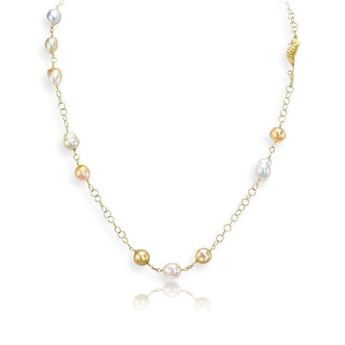 Baroque Cultured Pearl Necklace-Necklaces-LJD Designs-JewelStreet