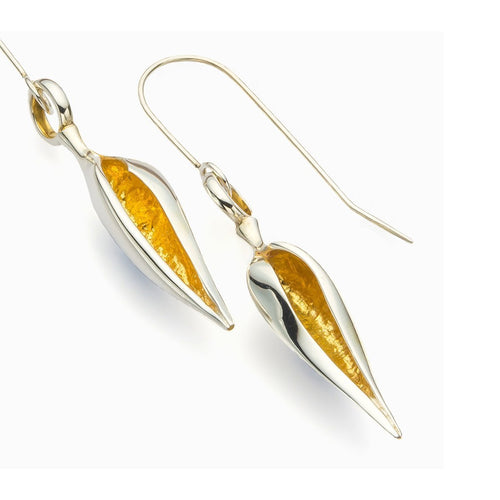 Beachcomber Long Pod Earrings-Earrings-John S Roberts Artist-Jeweller-JewelStreet