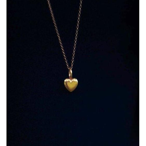 Beaten Heart Gold Plated Charm-Necklaces-Katie Mullally-JewelStreet