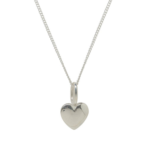 Beaten Heart Silver Charm-Necklaces-Katie Mullally-JewelStreet