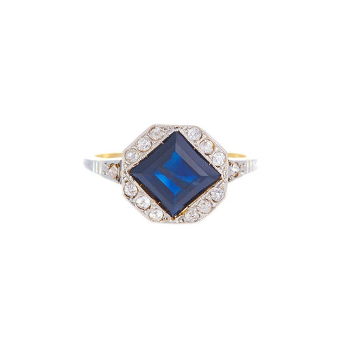 Beautiful Art Deco Square Cut Sapphire And Diamonds Ring-Rings-Alexis Danielle Jewelry-JewelStreet
