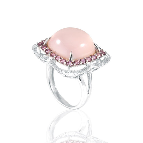 Bella White Gold Rose Quartz Ring-Rings-Estenza-JewelStreet