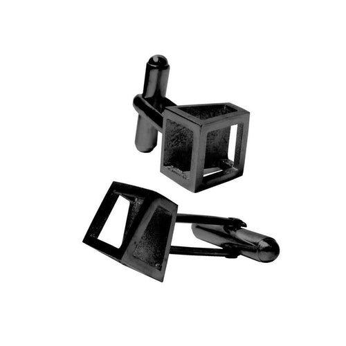 Black Angled Cufflinks-Cufflinks-Stephanie Bates-JewelStreet