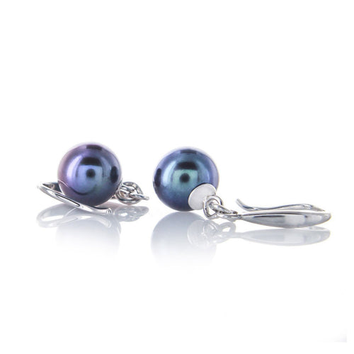 Black Freshwater Pearl Fine Quality Silver Earrings-Earrings-Brian Gavin Diamonds-JewelStreet