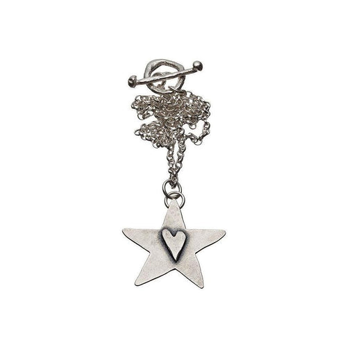 Black Heart Hammered Star Pendant-Necklaces-Kate Chell Jewellery-JewelStreet