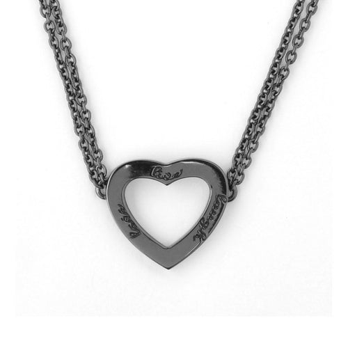 Black Rhodium Live Laugh Love Necklace-Necklaces-Ongkara-JewelStreet