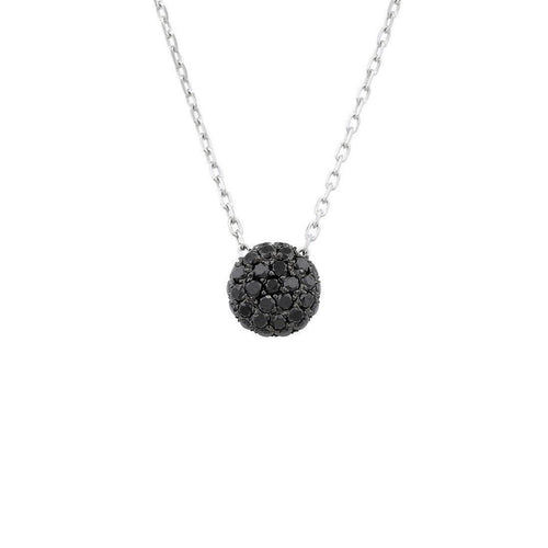 Bloomsbury White Gold Black Diamond Ball Pendant-Necklaces-London Road Jewellery-JewelStreet