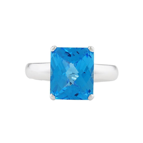 Bloomsbury White Gold Blue Topaz Ring-Rings-London Road Jewellery-JewelStreet