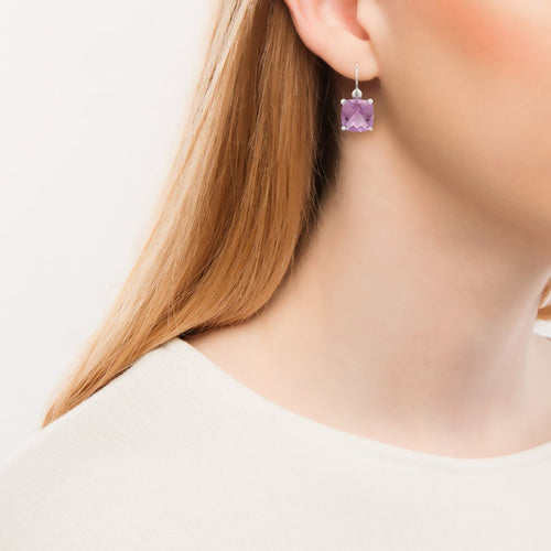 Bloomsbury White Gold Rose Amethyst Drop Earrings-Earrings-London Road Jewellery-JewelStreet