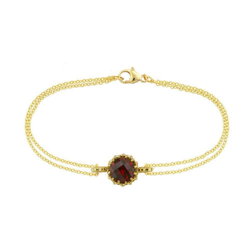 Bloomsbury Yellow Gold Chequer-cut Garnet Coronation Bracelet-Bracelets-London Road Jewellery-JewelStreet