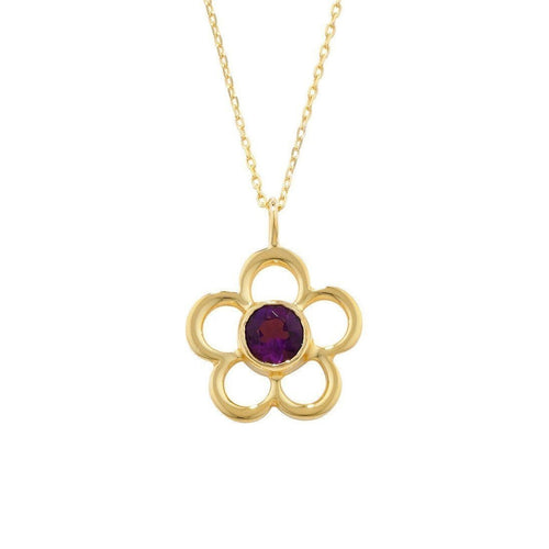 Blossom Birthstone Yellow Gold Amethyst Pendant-Necklaces-London Road Jewellery-JewelStreet