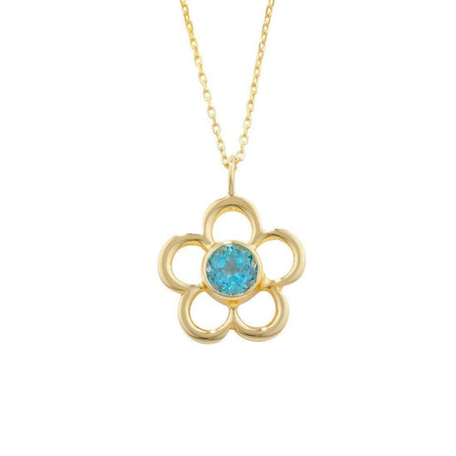 Blossom Birthstone Yellow Gold Blue Topaz Pendant-Necklaces-London Road Jewellery-JewelStreet