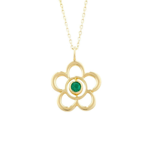 Blossom Birthstone Yellow Gold Emerald Pendant-Necklaces-London Road Jewellery-JewelStreet