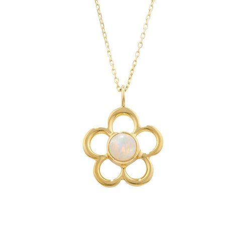 Blossom Birthstone Yellow Gold Opal Pendant-Necklaces-London Road Jewellery-JewelStreet