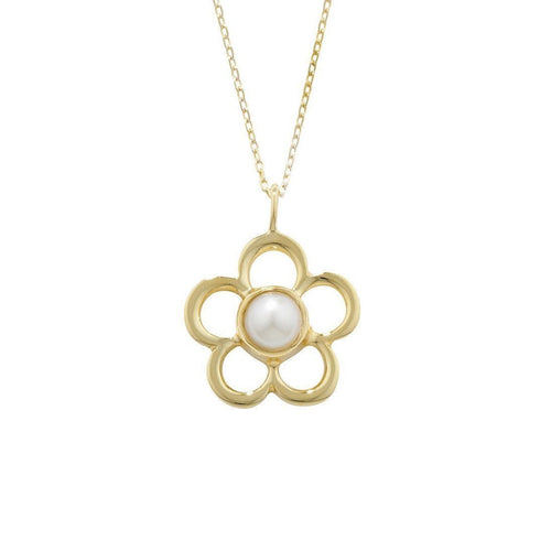 Blossom Birthstone Yellow Gold Pearl Pendant-Necklaces-London Road Jewellery-JewelStreet