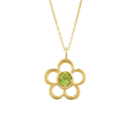 Blossom Birthstone Yellow Gold Peridot Pendant-Necklaces-London Road Jewellery-JewelStreet