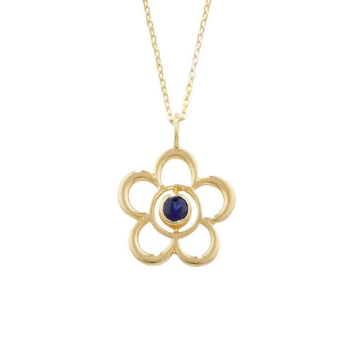 Blossom Birthstone Yellow Gold Sapphire Pendant-Necklaces-London Road Jewellery-JewelStreet