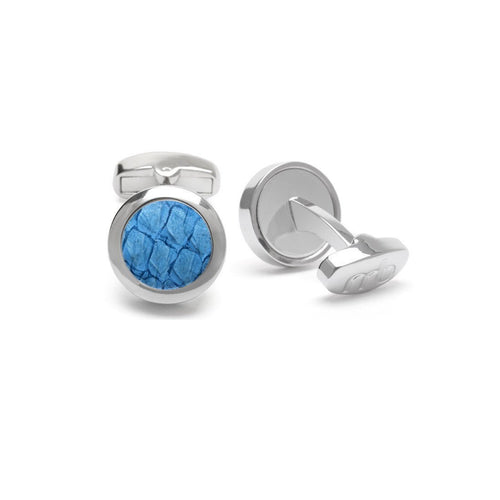 Blue Atlantic Salmon Leather Steel Cufflinks-Cufflinks-Marlin Birna-JewelStreet