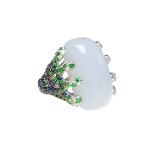 Blue Chalcedony Sapphire & Tsavorite Vines Ring ,[product vendor],JewelStreet