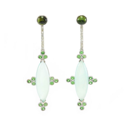 Blue Chalcedony With Tsavorite & Diamond Earrings ,[product vendor],JewelStreet