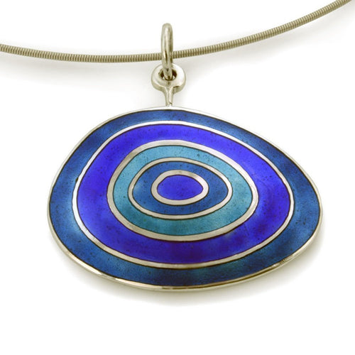 Blue Enamel Necklace-Necklaces-Jan D-JewelStreet