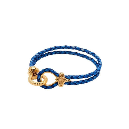 Blue Leather Bracelet with Gold Clasp-Bracelets-Nialaya-JewelStreet