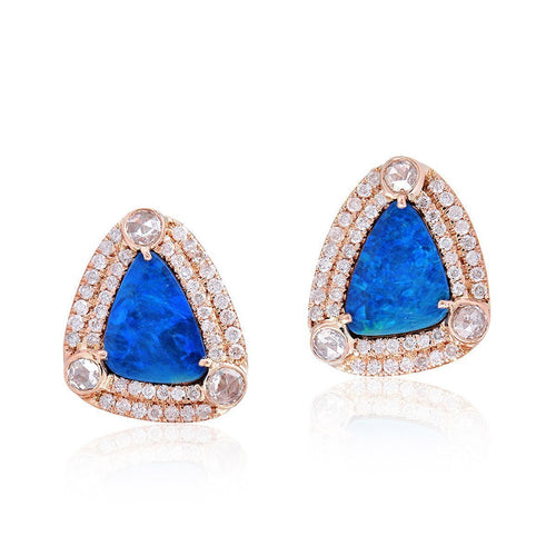 Blue Opal Stud Earring-Earrings-Socheec-JewelStreet