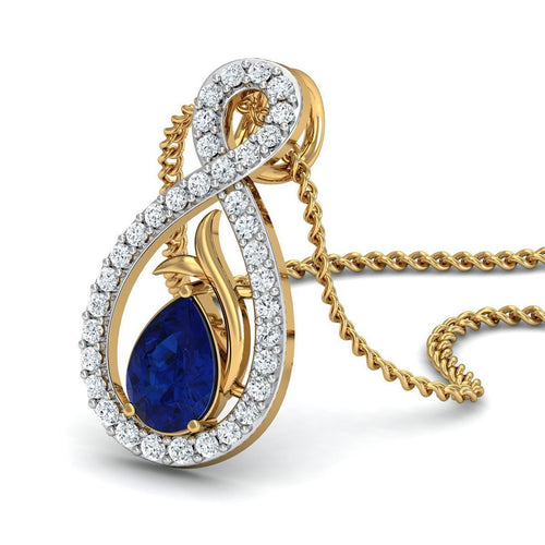 Blue Pear Cut Sapphire and Diamond Pendant in 18kt Yellow Gold-Necklaces-Diamoire Jewels-JewelStreet