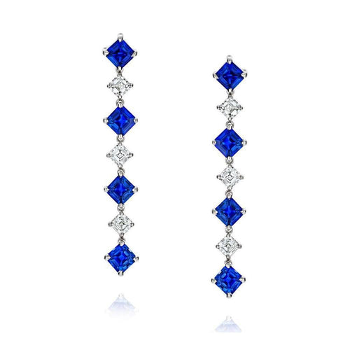 Blue Sapphire and Diamond Earrings-Earrings-David Gross-JewelStreet