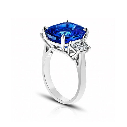 Blue Sapphire Cushion Ring-Rings-David Gross-JewelStreet