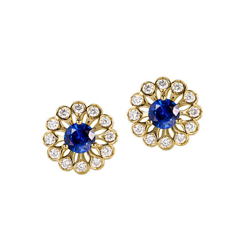 Blue Sapphire Diamond Studs-Earrings-SILVER YULAN-JewelStreet