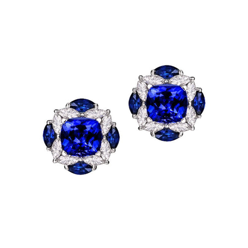 Blue Tanzanite Diamond Studs-Earrings-SILVER YULAN-JewelStreet