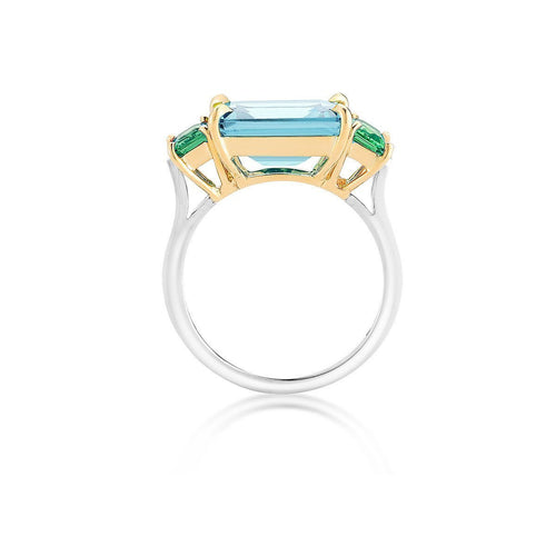 Blue Topaz And Tsavorite Florentine Ring-Rings-Paolo Costagli New York-JewelStreet