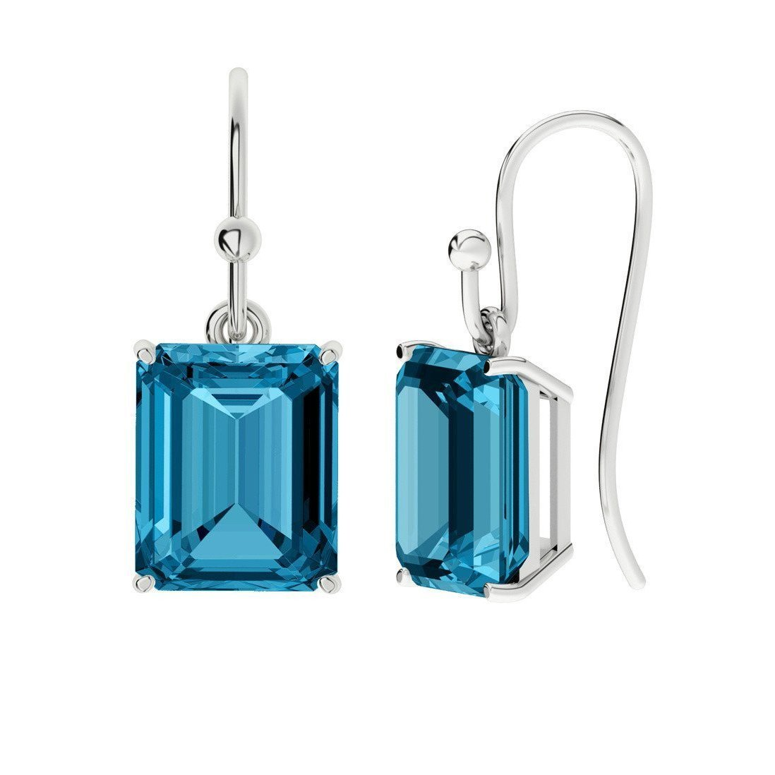 Blue Topaz Emerald Cut Sterling Silver Drop Earrings