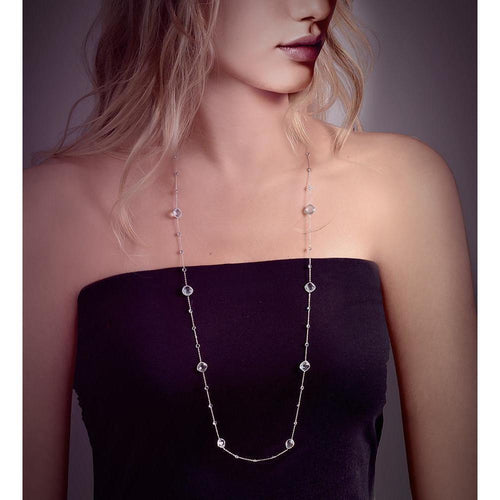 Blue Topaz Long Chain Necklace-Necklaces-BCOUTURE-JewelStreet