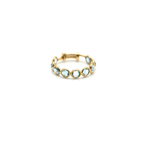 Blue Topaz Stackable Ring Band in 18kt Yellow Gold-Rings-Tresor-JewelStreet