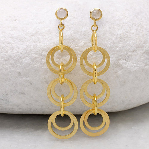 Boho Circle Drop Moonstone Gold Earrings-Earrings-Sharon Mills London-JewelStreet