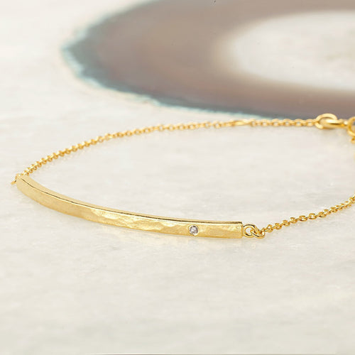 Boho Diamond Bar Gold Bracelet-Bracelets-Sharon Mills London-JewelStreet